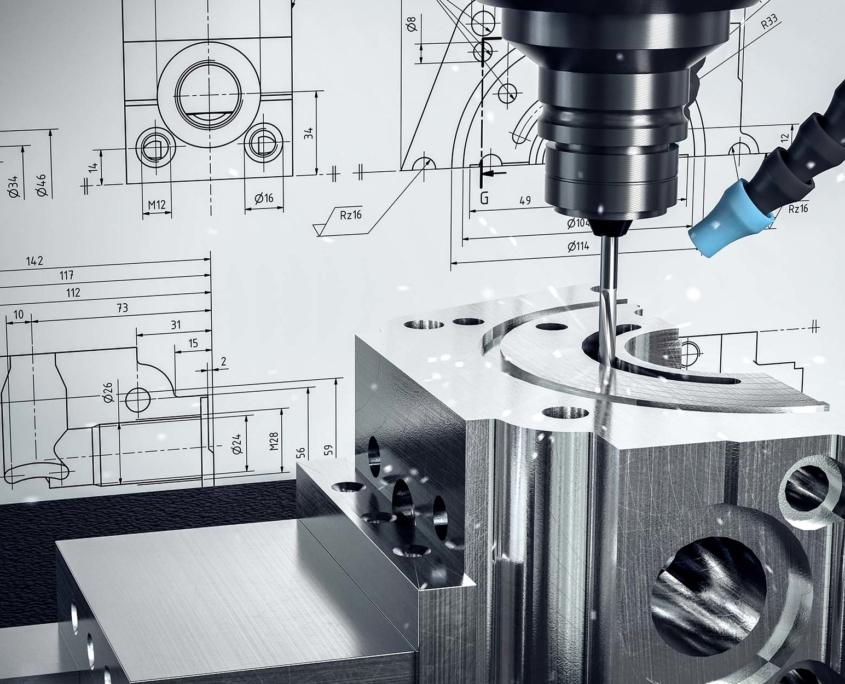 Close up view of a milling machine making product
